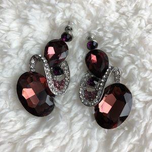 Jewelry - Silvertone Swirl Plum Rhinestone Earrings